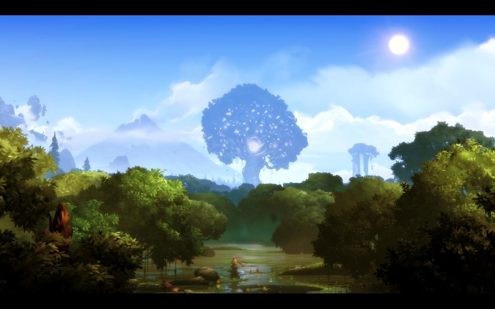 Sky Lake Screen Shot Sun Forest Trees Video Games Ori And ...