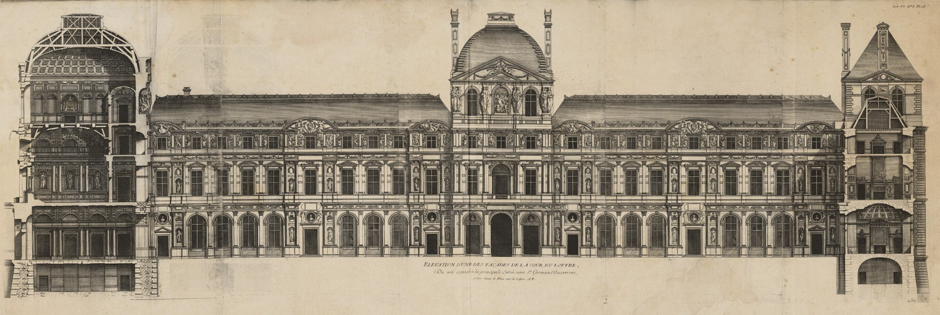 Louvre Elevation Paris 1756   Majesty Maps Prints 1917x643