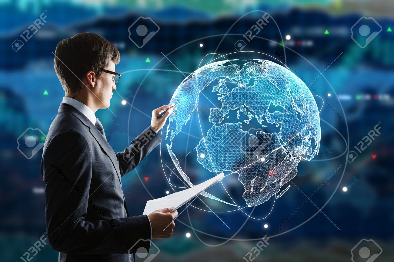 Businessman Drawing Abstract Digital Globe On Forex Background 1300x866