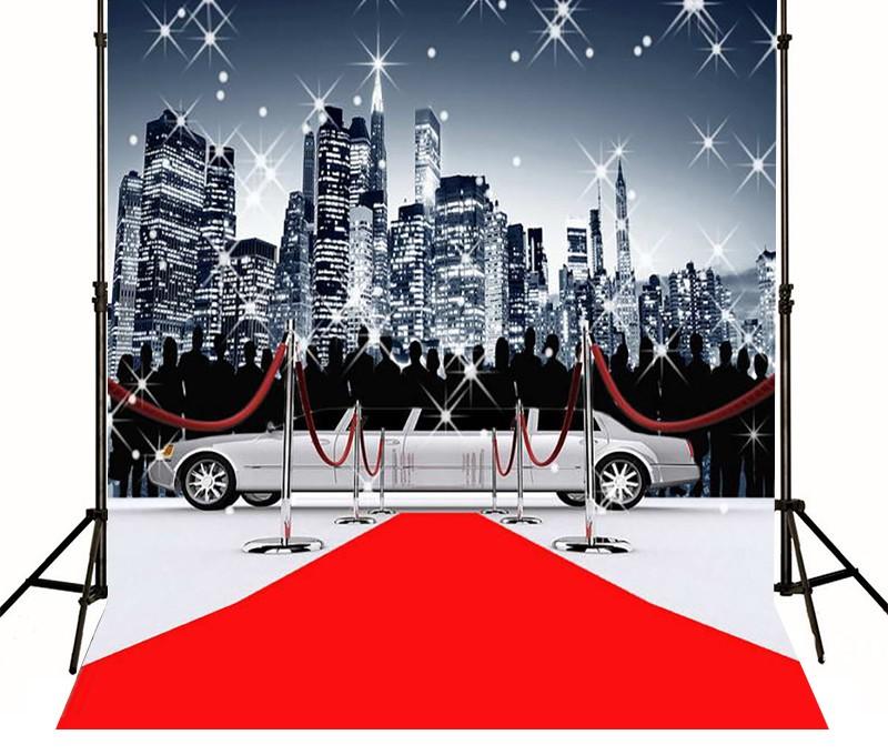 Red Carpet Limousine Bustling City Model photo backdrop Vinyl 800x680