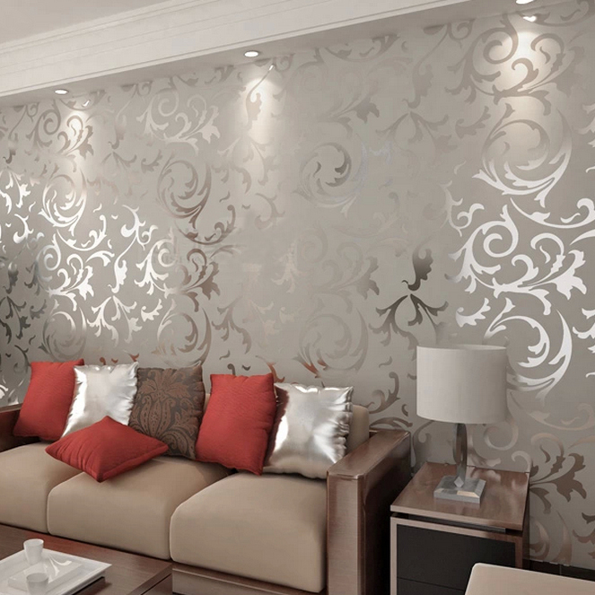 New Designer Flocking Textured Grey Color Wallpapers Discount Now for 663x663