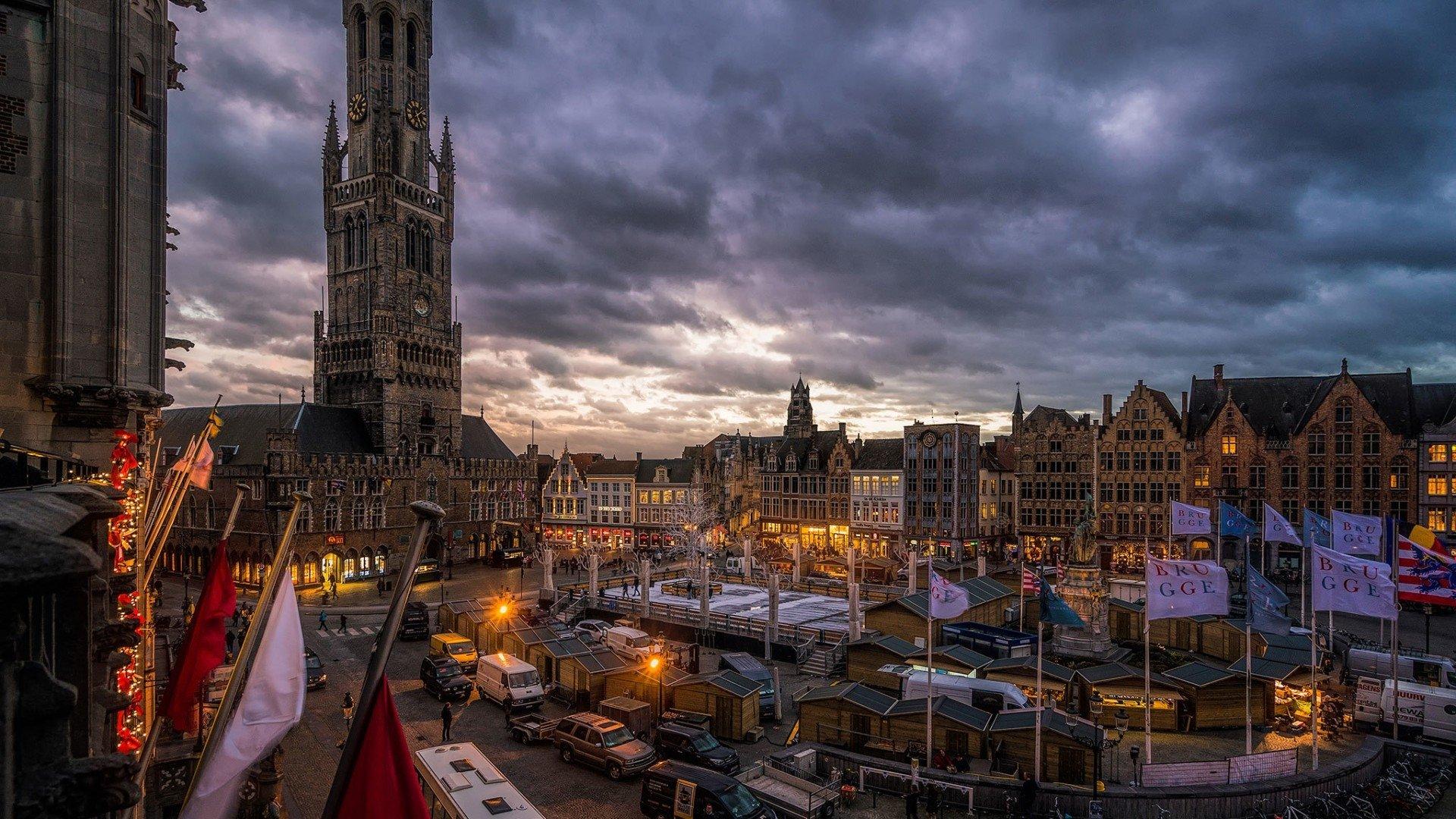Bruges Belgium at Dusk HD Wallpaper Background Image 1920x1080
