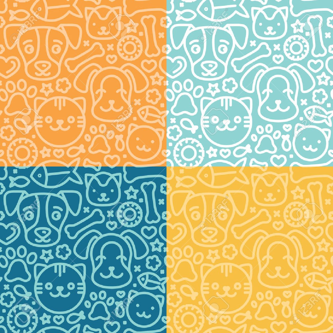 Vector Set Of Seamless Patterns And Backgrounds With Trndy Linear 1300x1300