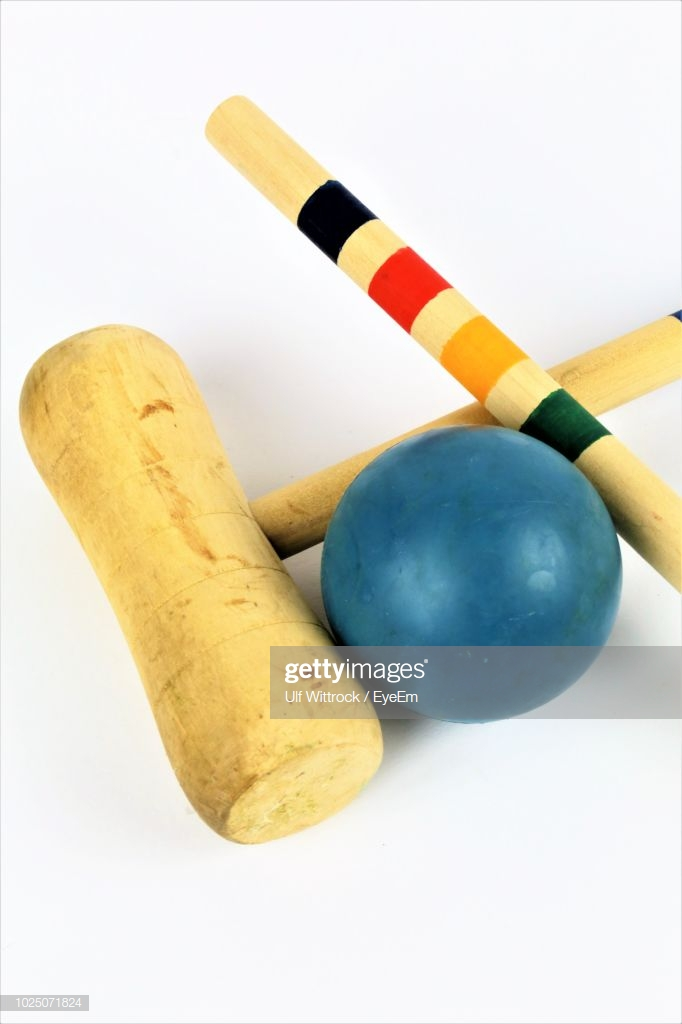 Closeup Of Croquet Equipment Over White Background Stock Photo 682x1024