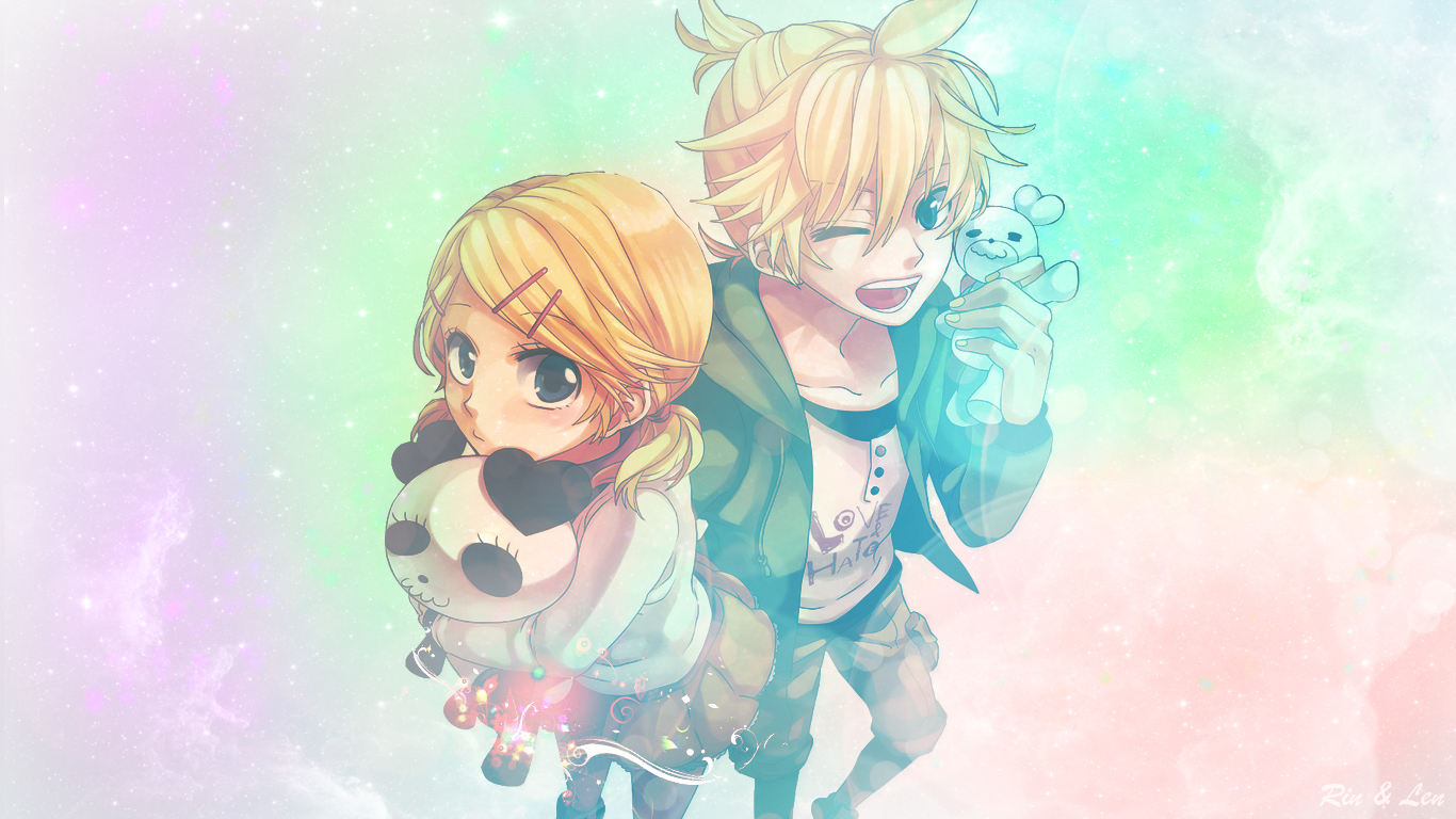 Wallpaper Rin and Len Vocaloid by Shercilu 1366x768