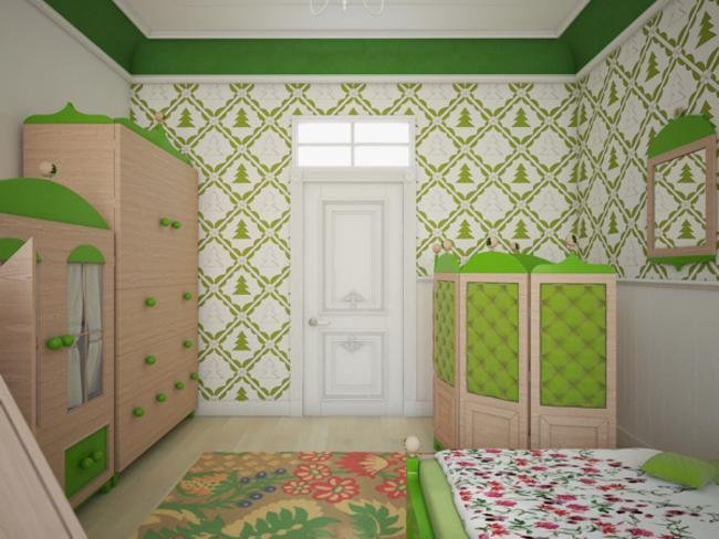 Green Color Childs Bedroom Design Ideas decoration ideas bedroom decor 650x488