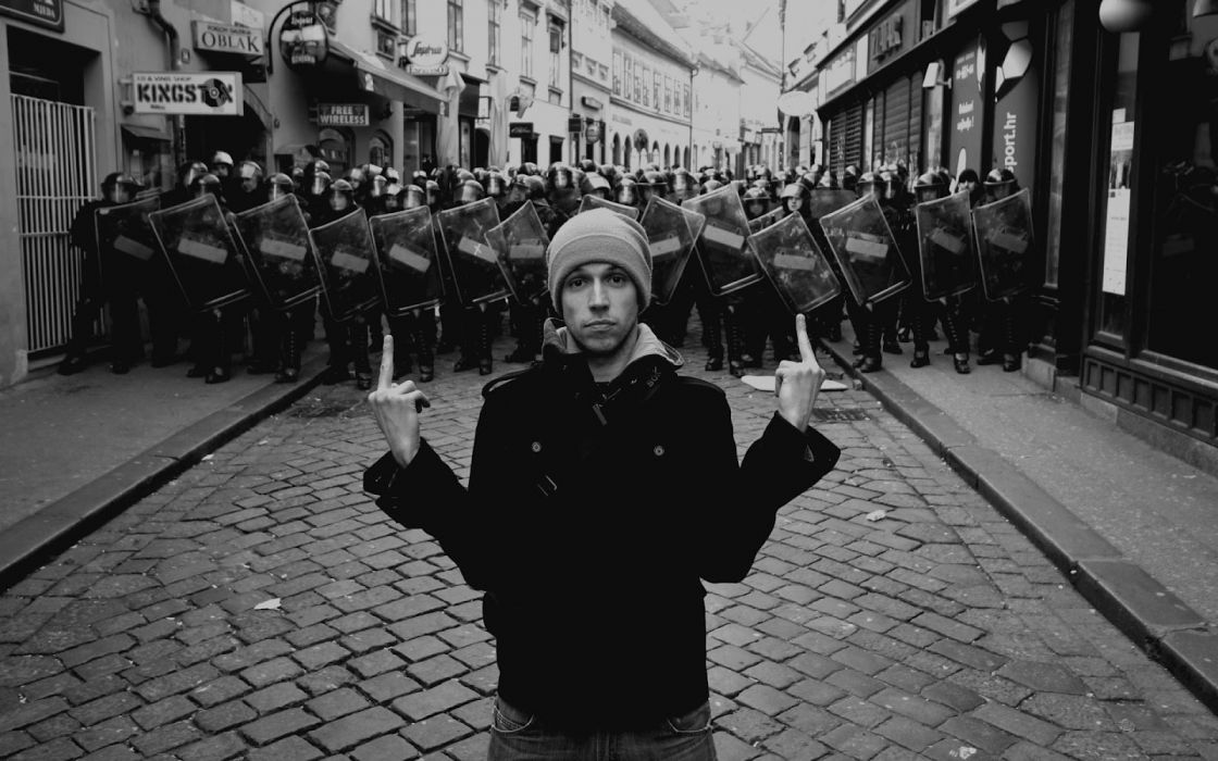 Mood Police protesters black white street wallpaper 1600x1000 1120x700