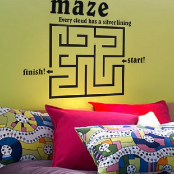 Vinyl Removable Maze Wallpaper Wall Stickers Decals with Labyrinth 600x600