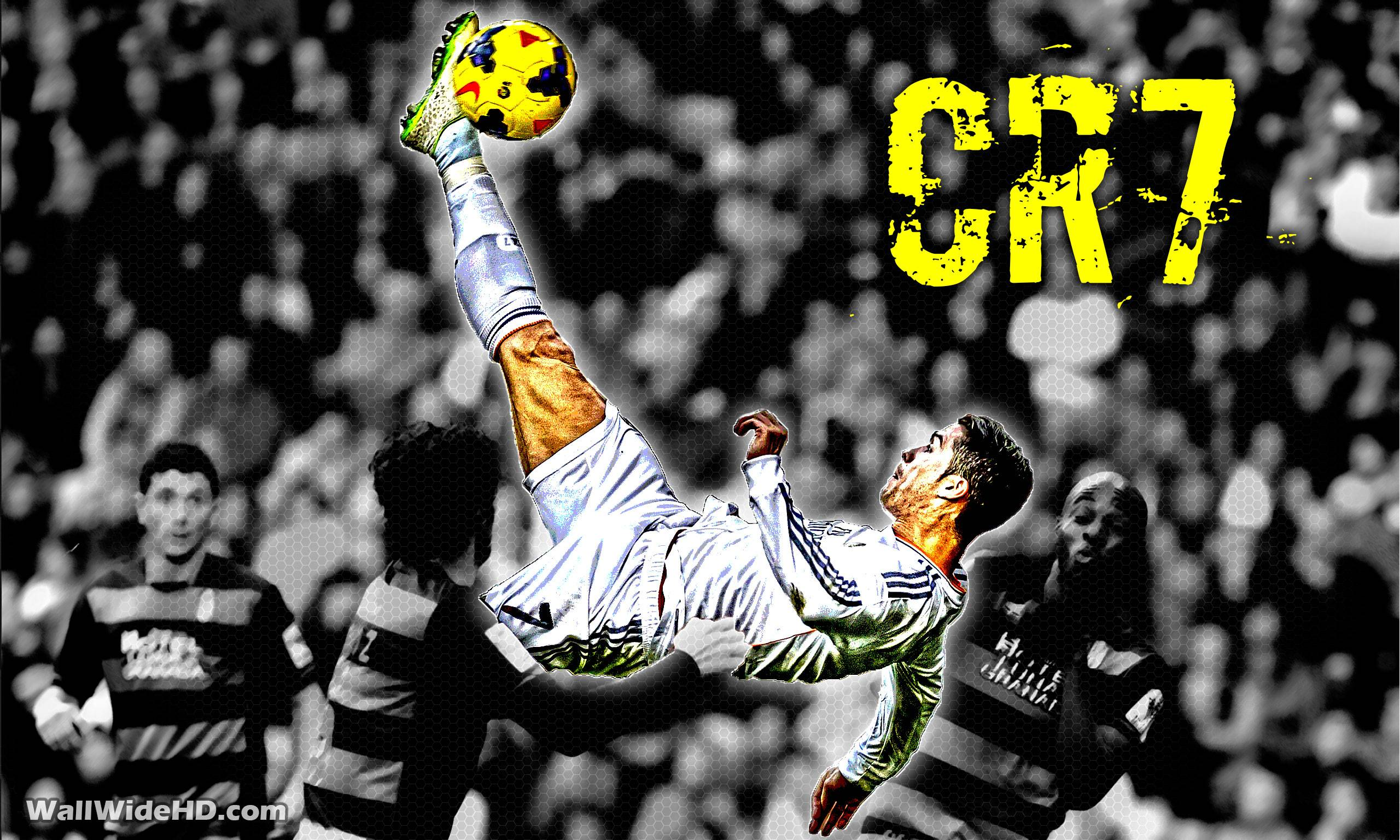 CR7 Real Madrid Overhead Kick Wallpaper Wide or HD Artistic 2560x1536