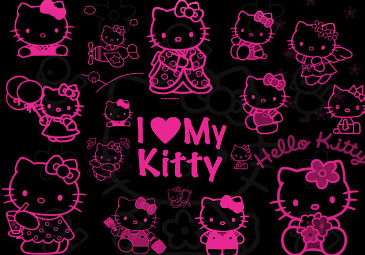 Hello Kitty Black And Pink Wallpaper - WallpaperSafari