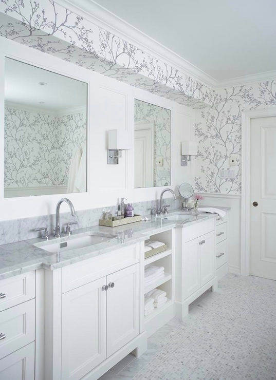 Stunning silver bathroom with F Schumacher Twiggy Silver Wallpaper and 537x740
