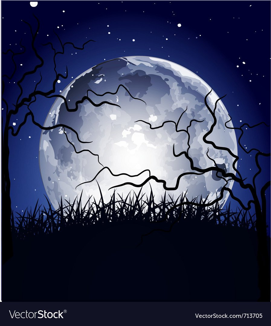 Halloween full moon background Royalty Vector Image 897x1080