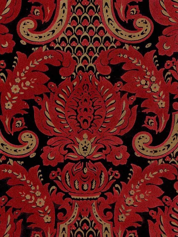 Pattern FLK 112 Name Victorian Flocked Velvet Wallpaper   Red 720x960