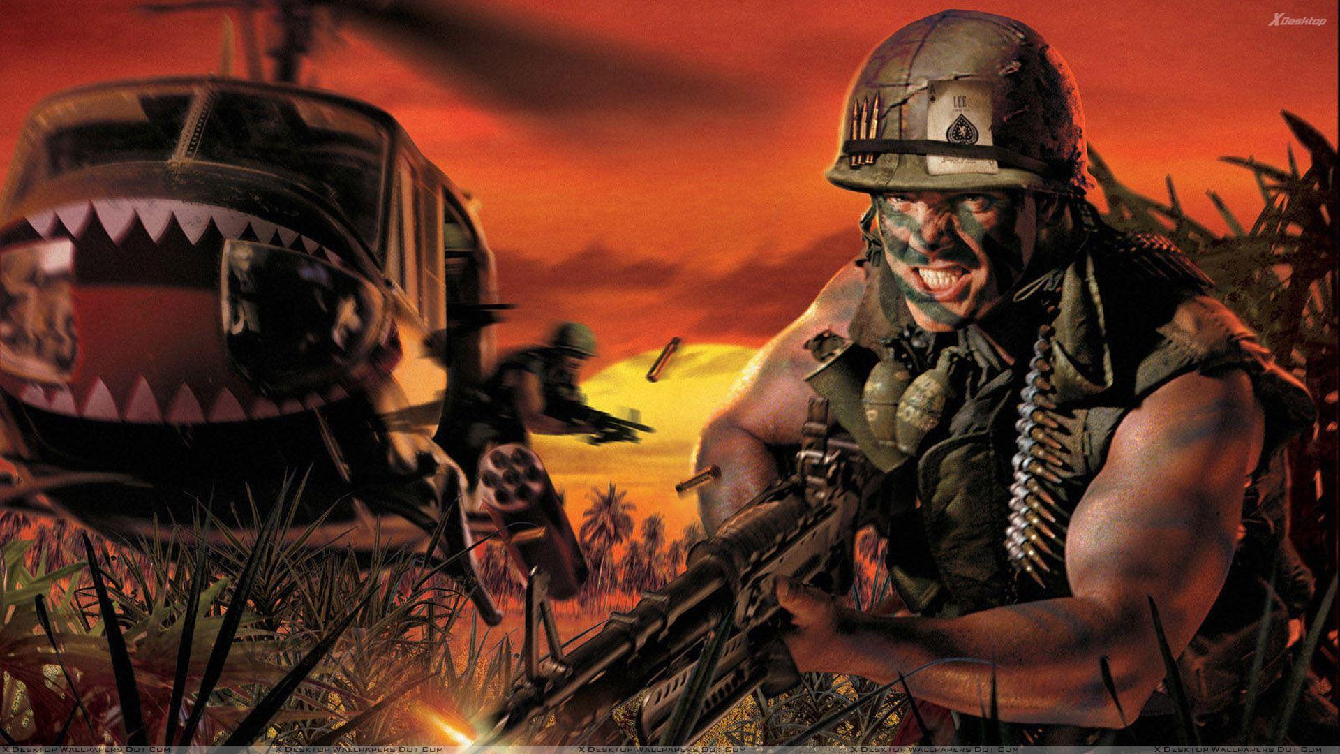 Battlefield Vietnam Soldier Firing Wallpaper 1920x1080