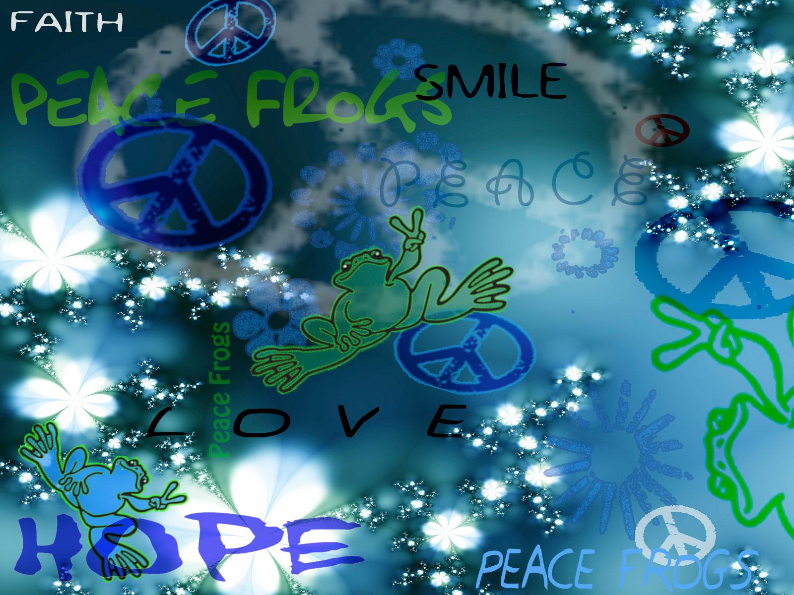 FREE Wallpaper Downloads   Kinda Blue   Peace Frogs Wallpaper 1600x1200