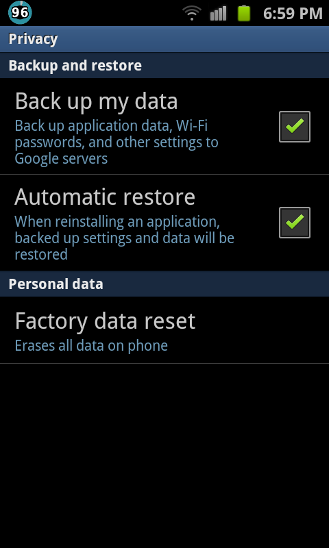 Factory Reset your android device 480x800