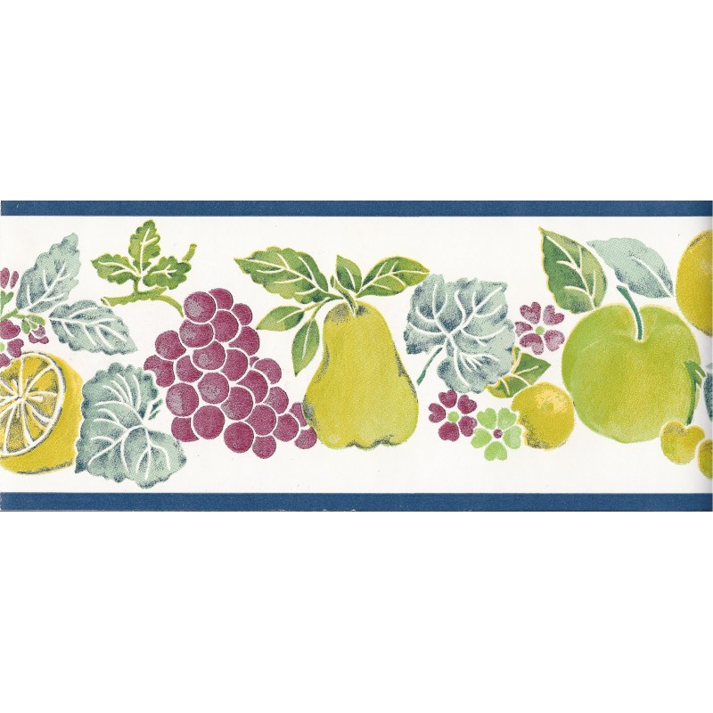 Home Fruit in Blue White 10 Metre Wallpaper Border 484 by Pride 800x800
