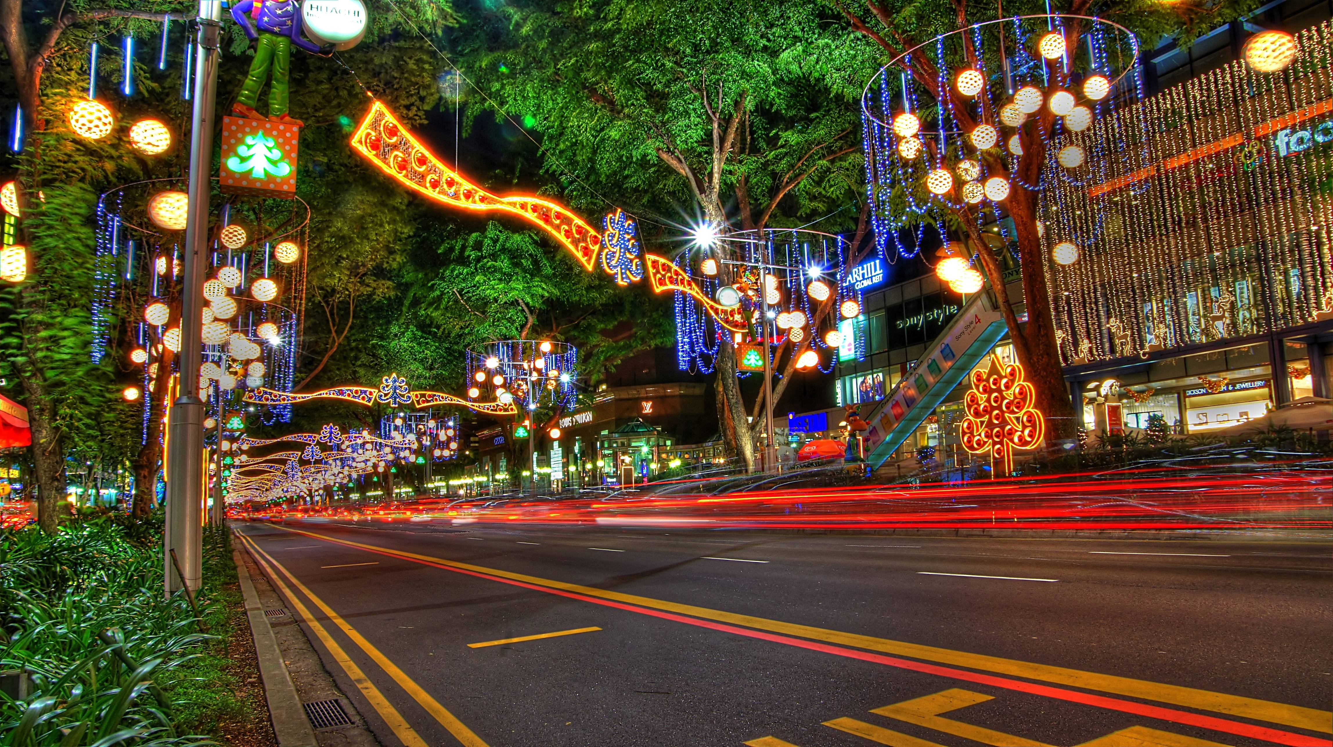 Christmas New Year Decorations on Orchard Road Singapore 4592x2576