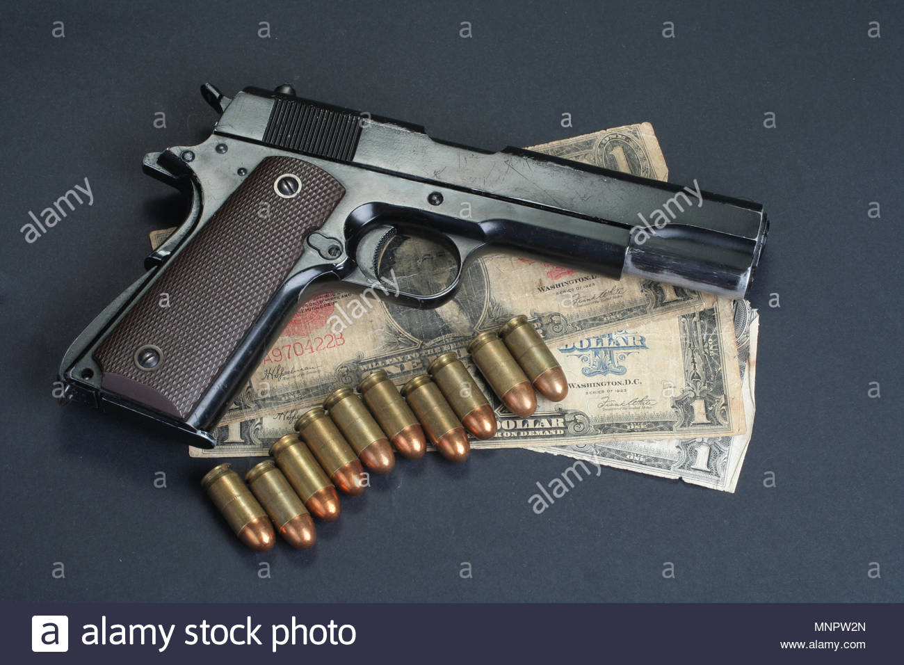 colt goverment M1911 on black background Stock Photo 185514077 1300x956