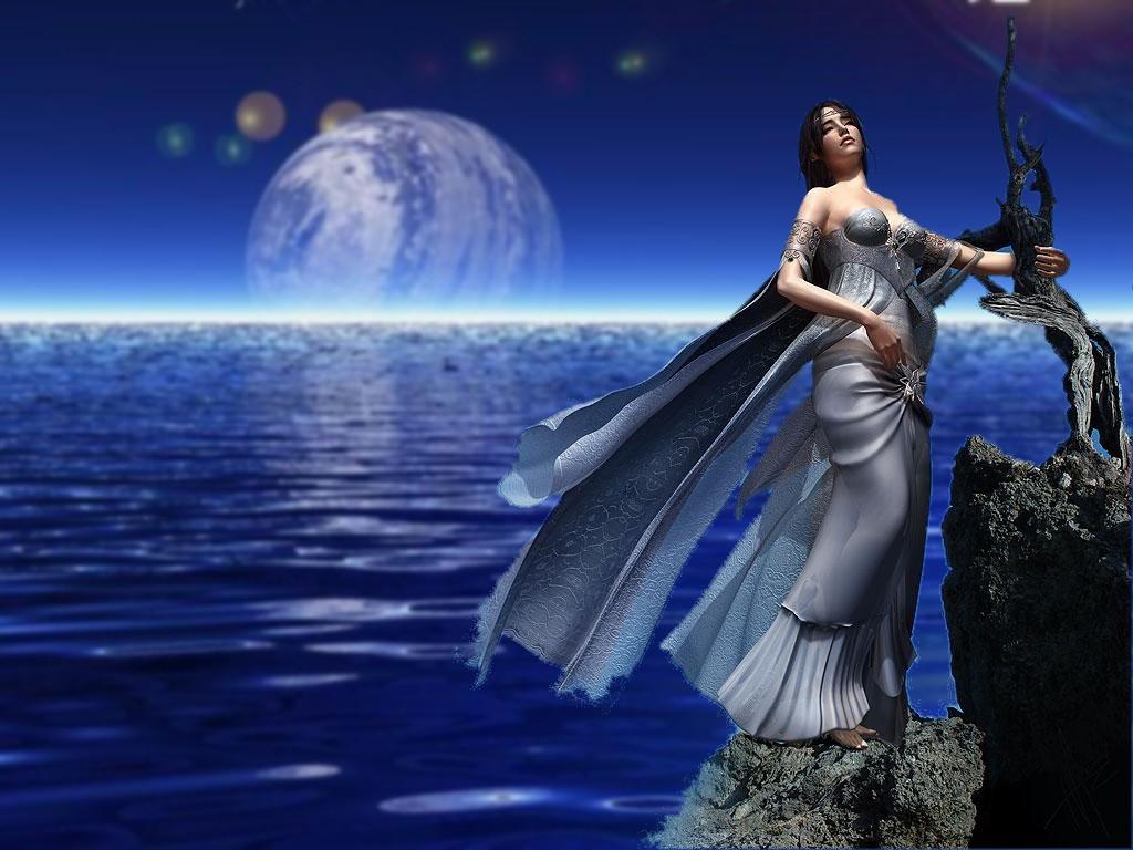 Download wallpaper Moon river 1024x768