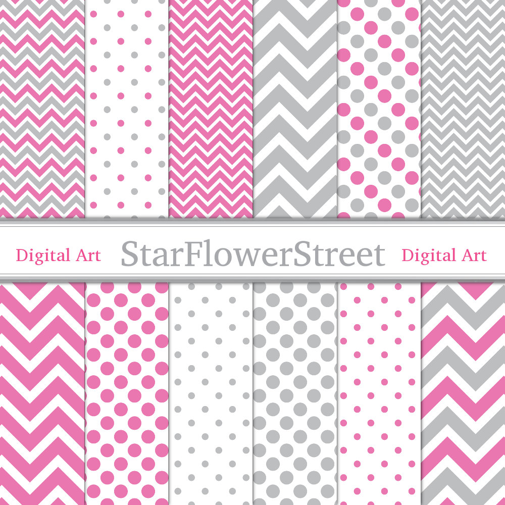 Chevron Polka Dot Digital Paper Scrapbook by StarFlowerStreetDA