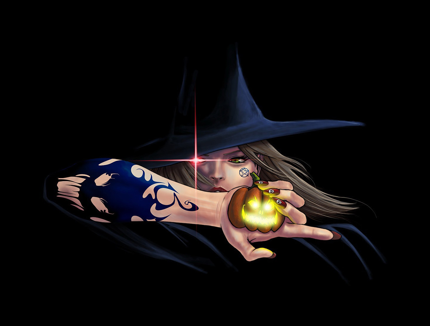 Scary Halloween 2012 HD Wallpapers Pumpkins Witches 1450x1100