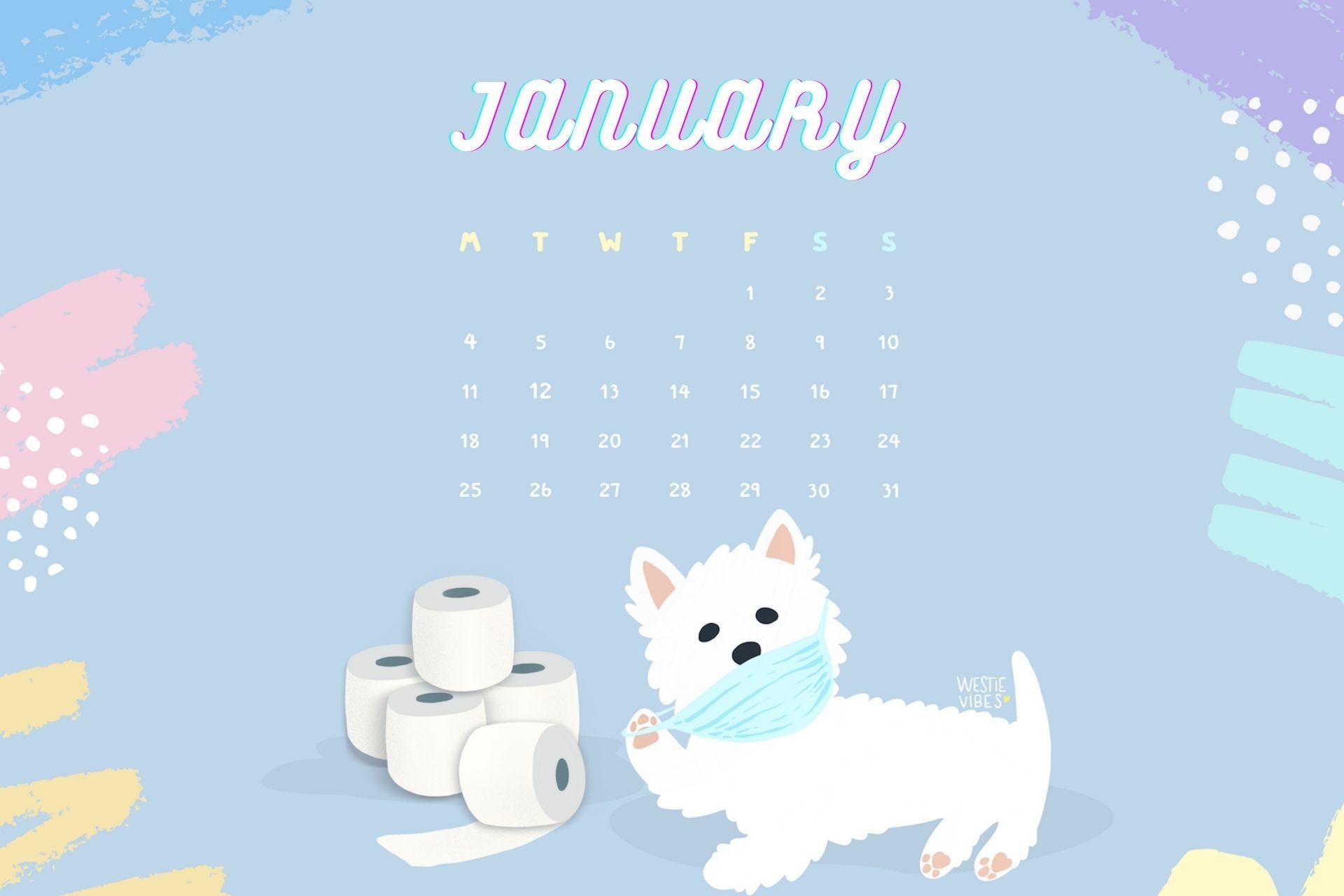 January 2021 HD Calendar Wallpaper featuring cute puppy Calendar 1920x1280