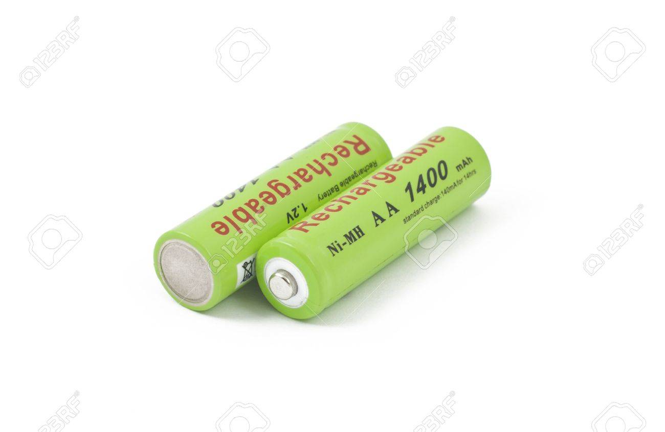 Two Green Ni MH Accumulators On White Background Stock Photo 1300x846