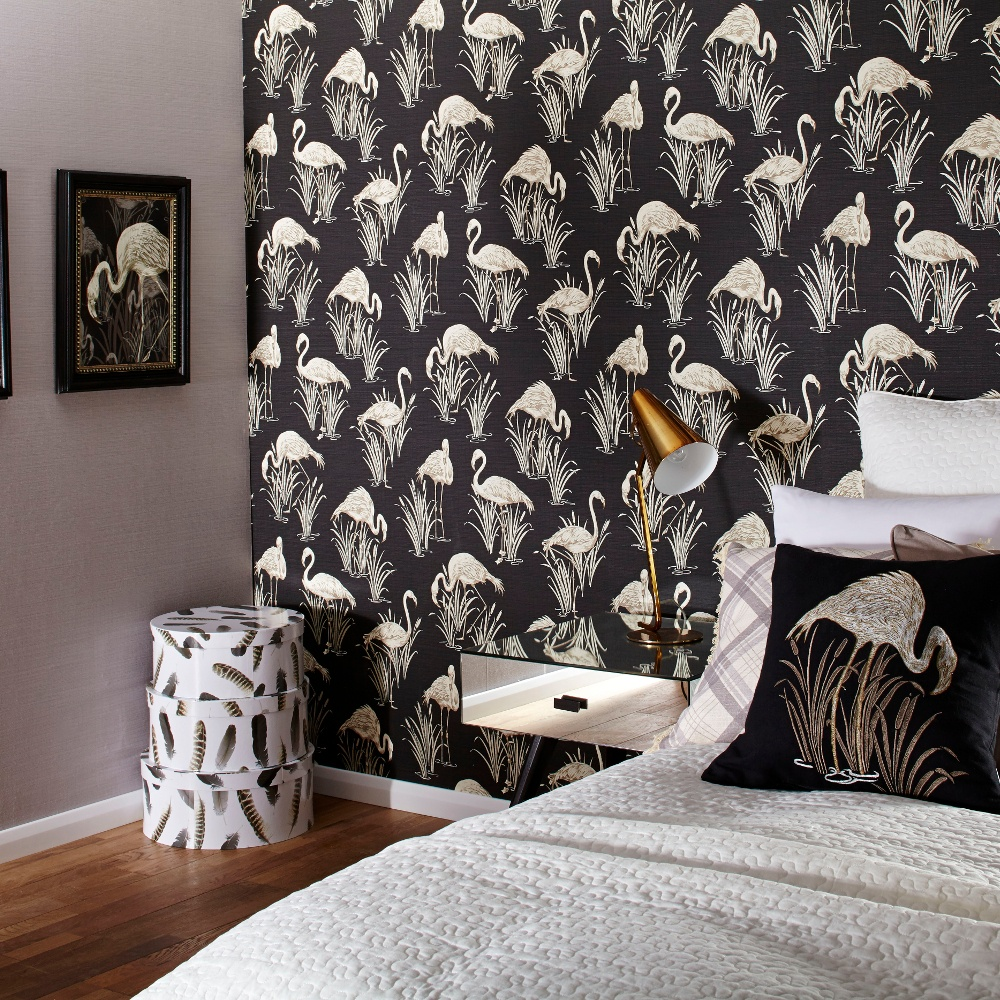 Vintage Lagoon Traditional Oriental Flamingo Textured Wallpaper 252600 1000x1000