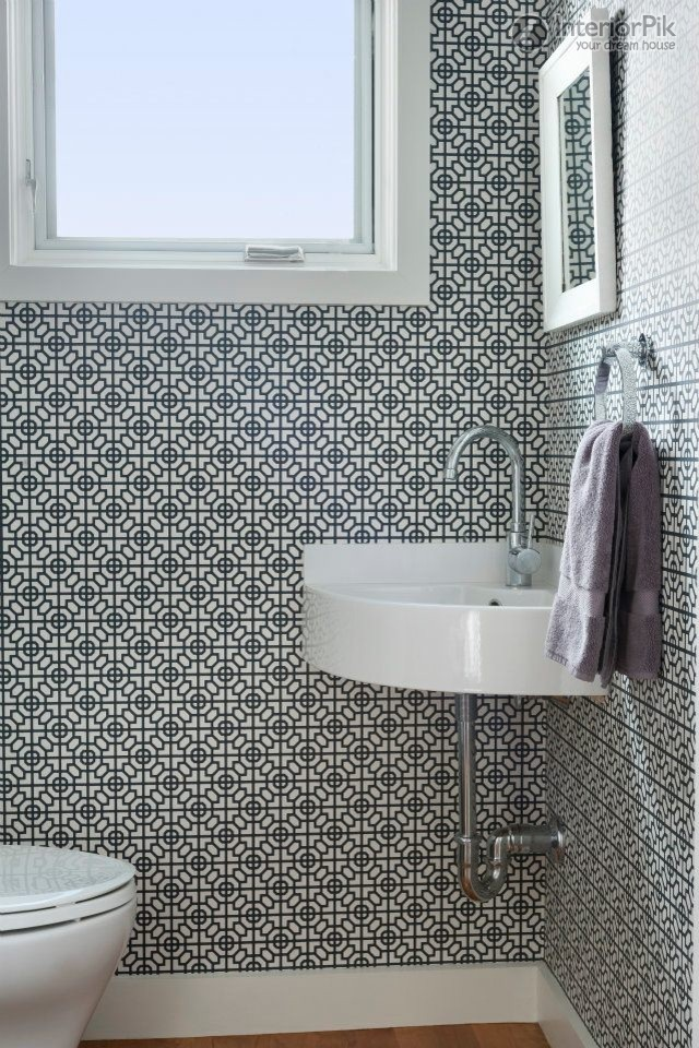 Small bathroom wallpaper effect chart Simple bathroom simple toilet 640x960