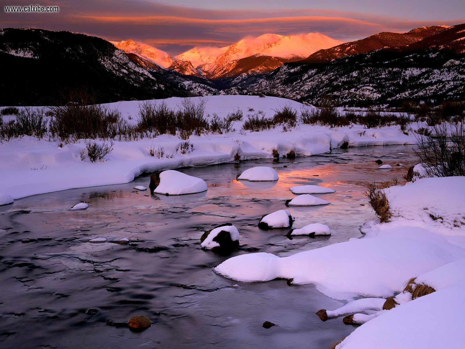 Nature Winter Sunrise Over Big Thompson River Rocky Mountain National 1600x1200