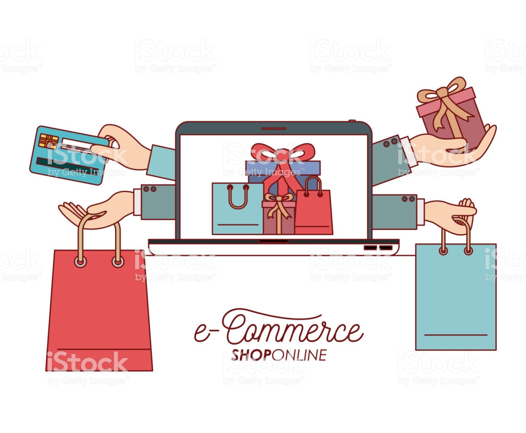Laptop With Wallpaper Of Set Gift And Bag Shopping Process 1024x843