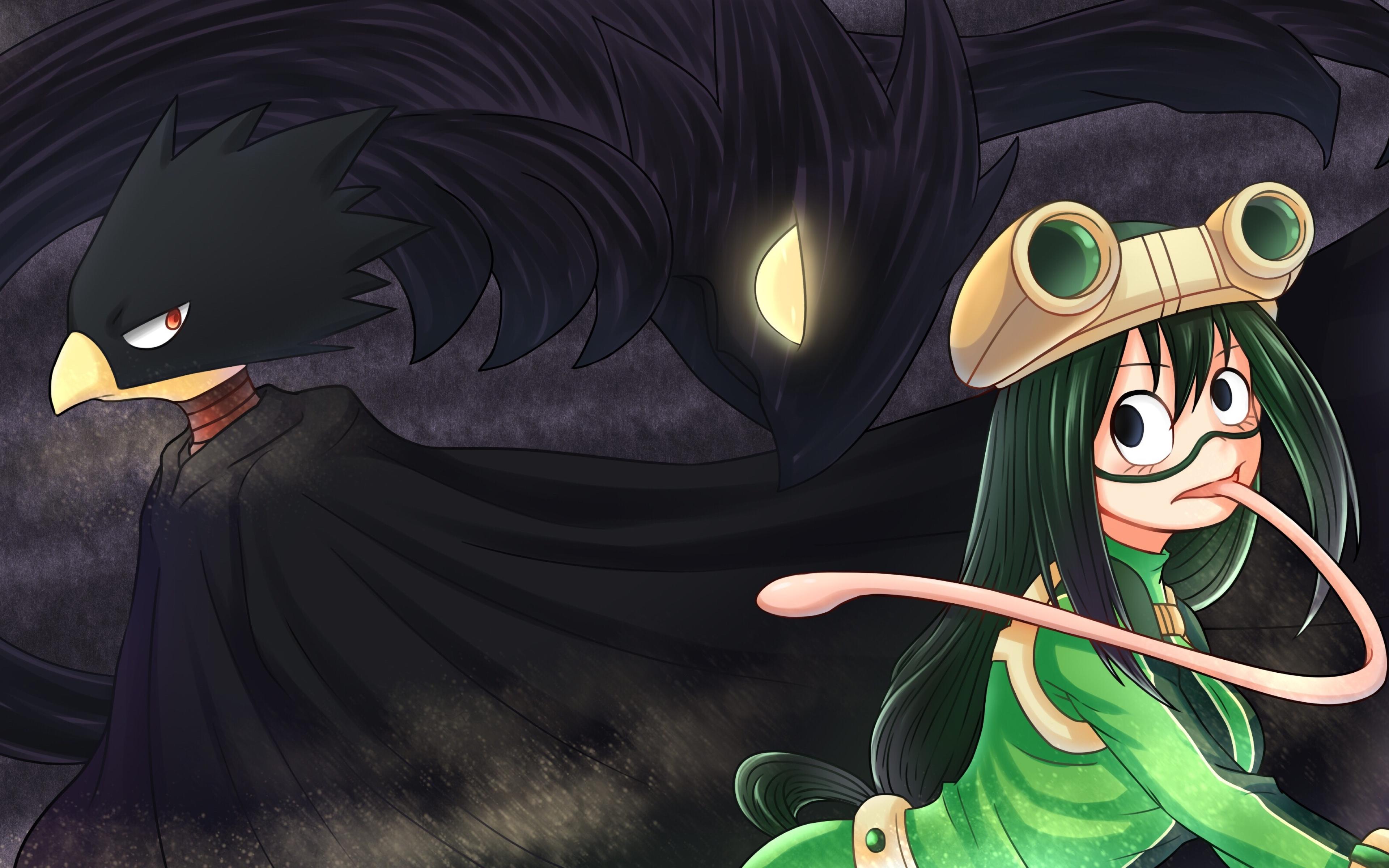 Download wallpapers Tsuyu Asui Fumikage Tokoyami Boku no Hero 3840x2400
