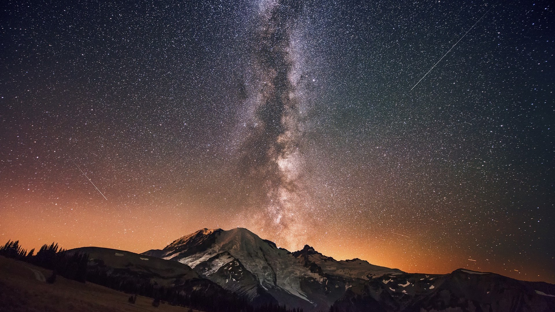 Download Milky Way above the mountain peak wallpaper 1920x1080