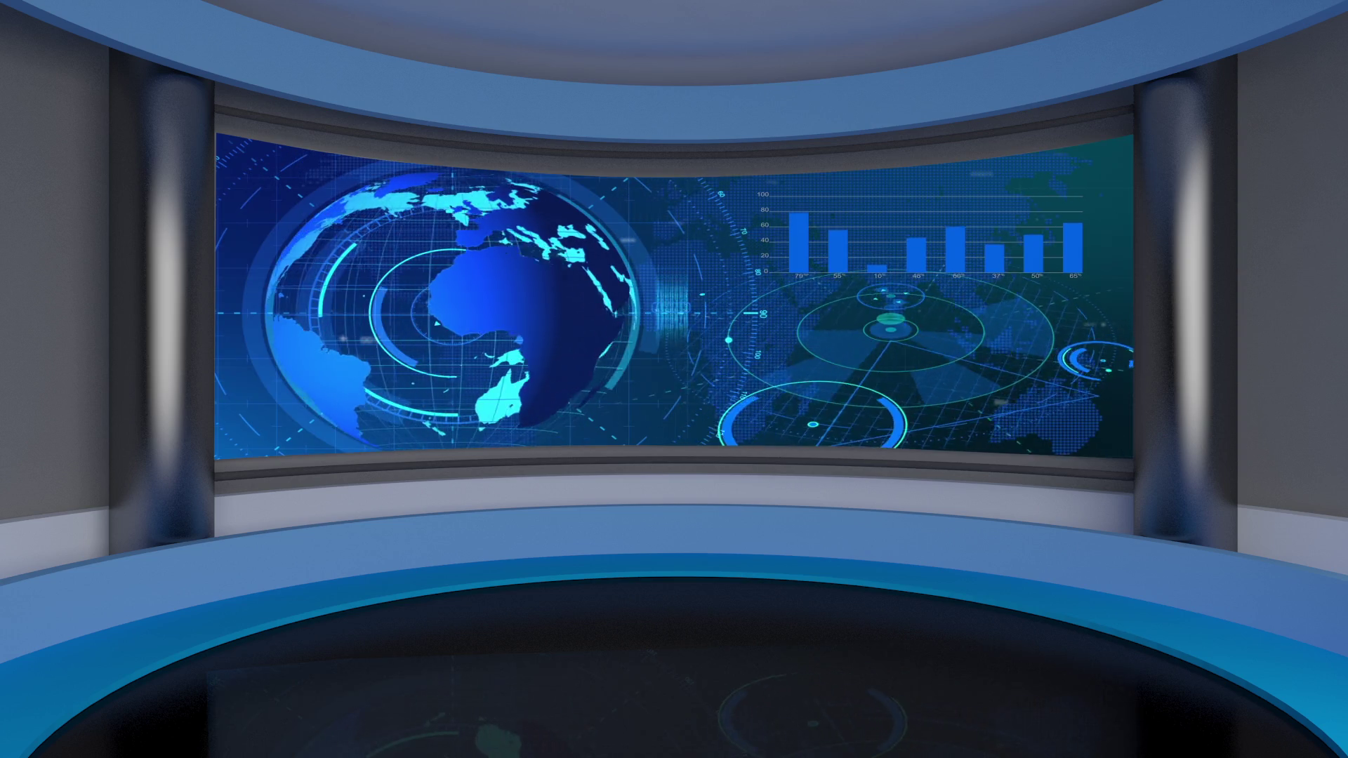 News 23 Broadcast Tv Studio Green Screen Background Loopable 1920x1080
