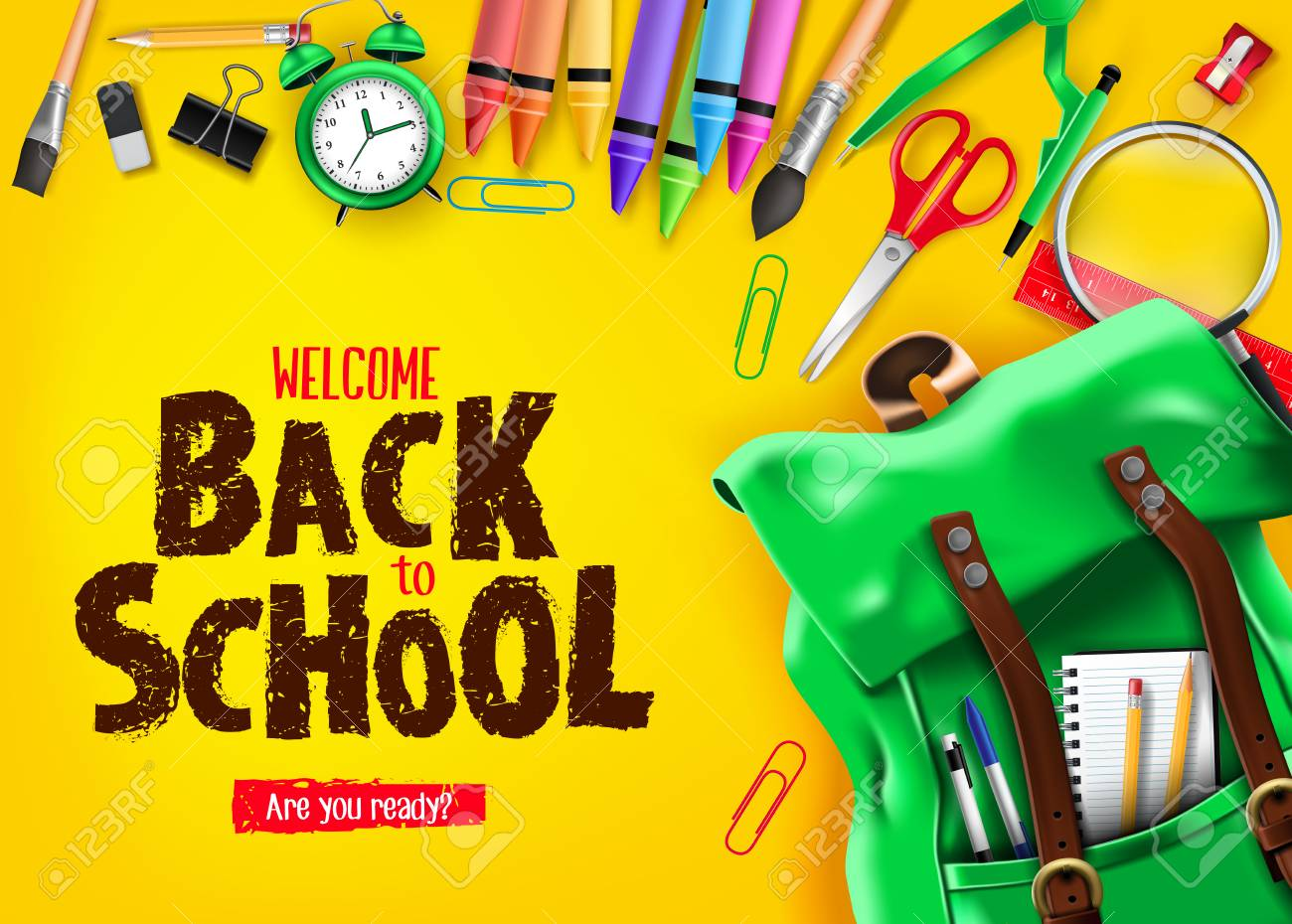 Back To School In Yellow Background Banner With Green Backpack 1300x930