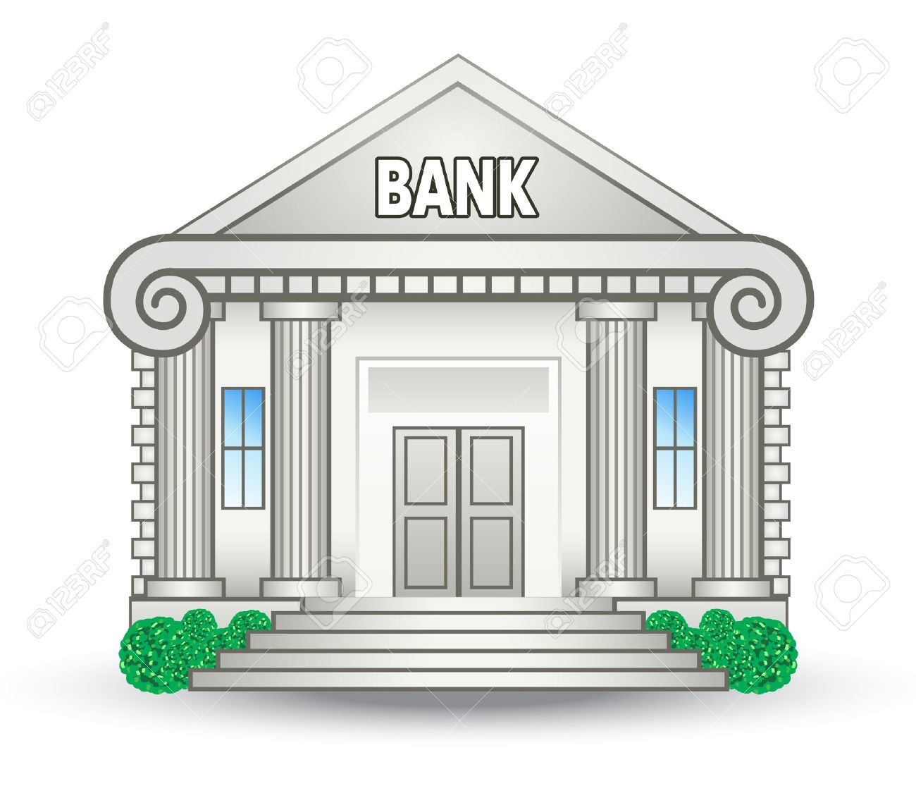 Vector Illustration Of Bank Building On White Background Royalty 1300x1115