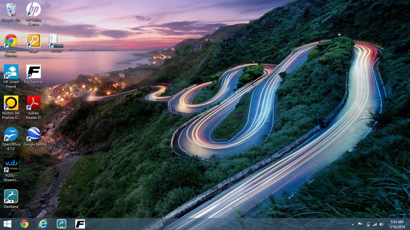 HP Backgrounds Windows 8 Winding Road 1366x768