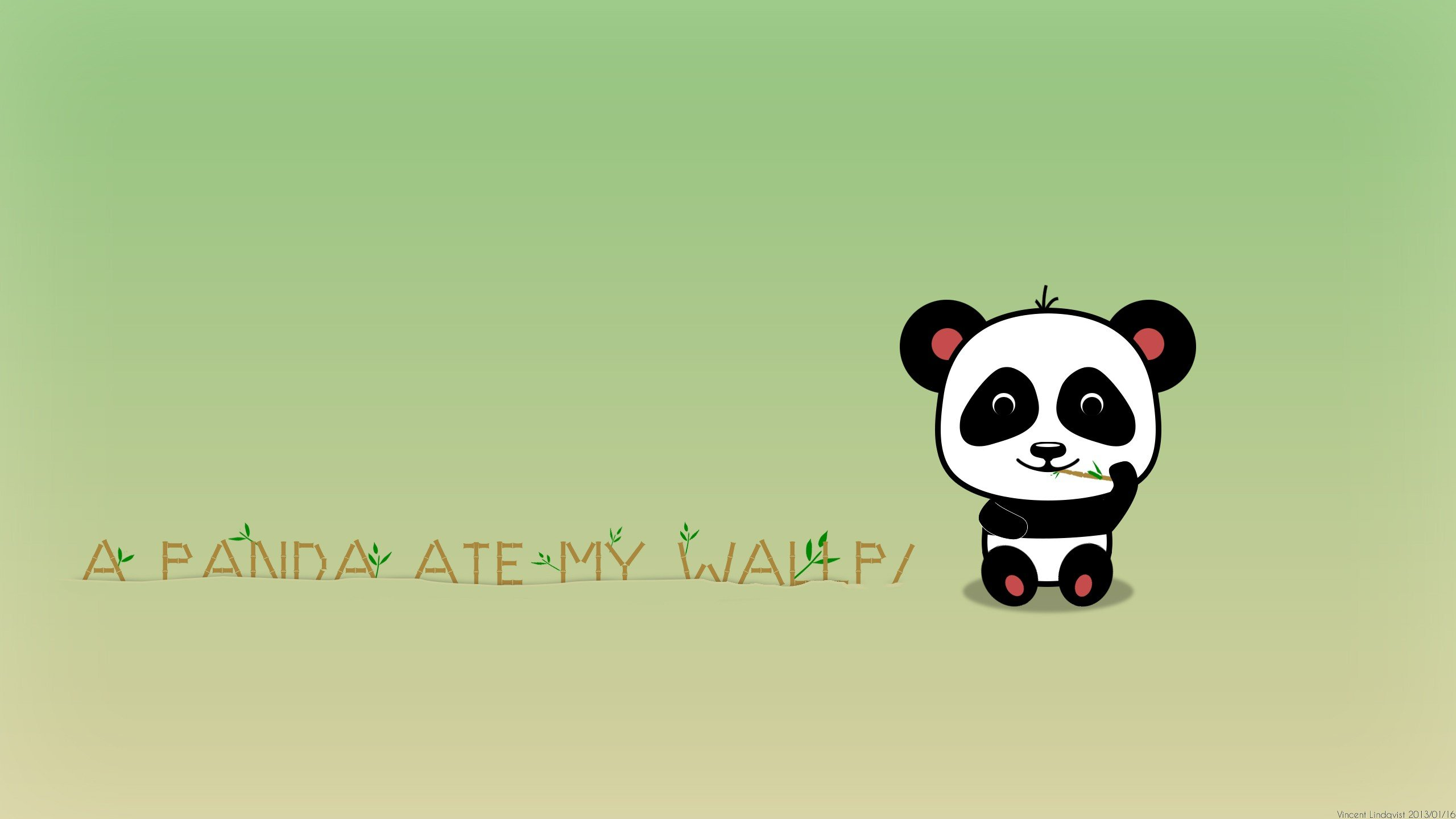 Funny Cute Panda Eat Bamboo Wallpaper   HD Background 2560x1440