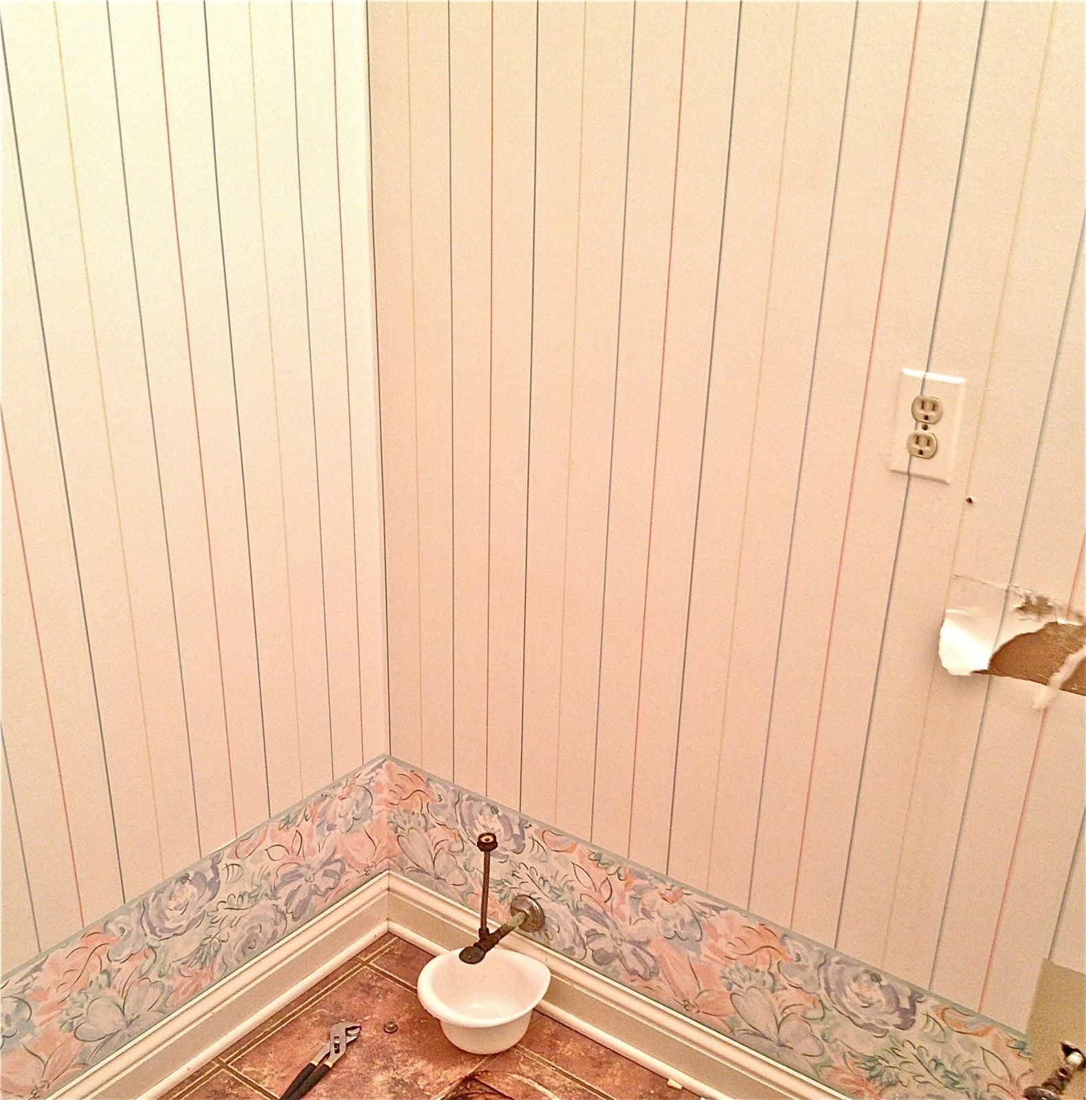 Guest Bathroom Wainscoting over Wallpaper Ocean Front Shack 1580x1600