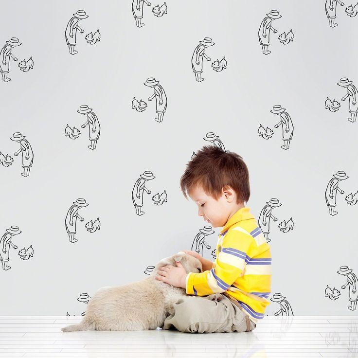 Fetch GrayBlack Removable Wallpaper Kids WallPaper Pinterest 736x736