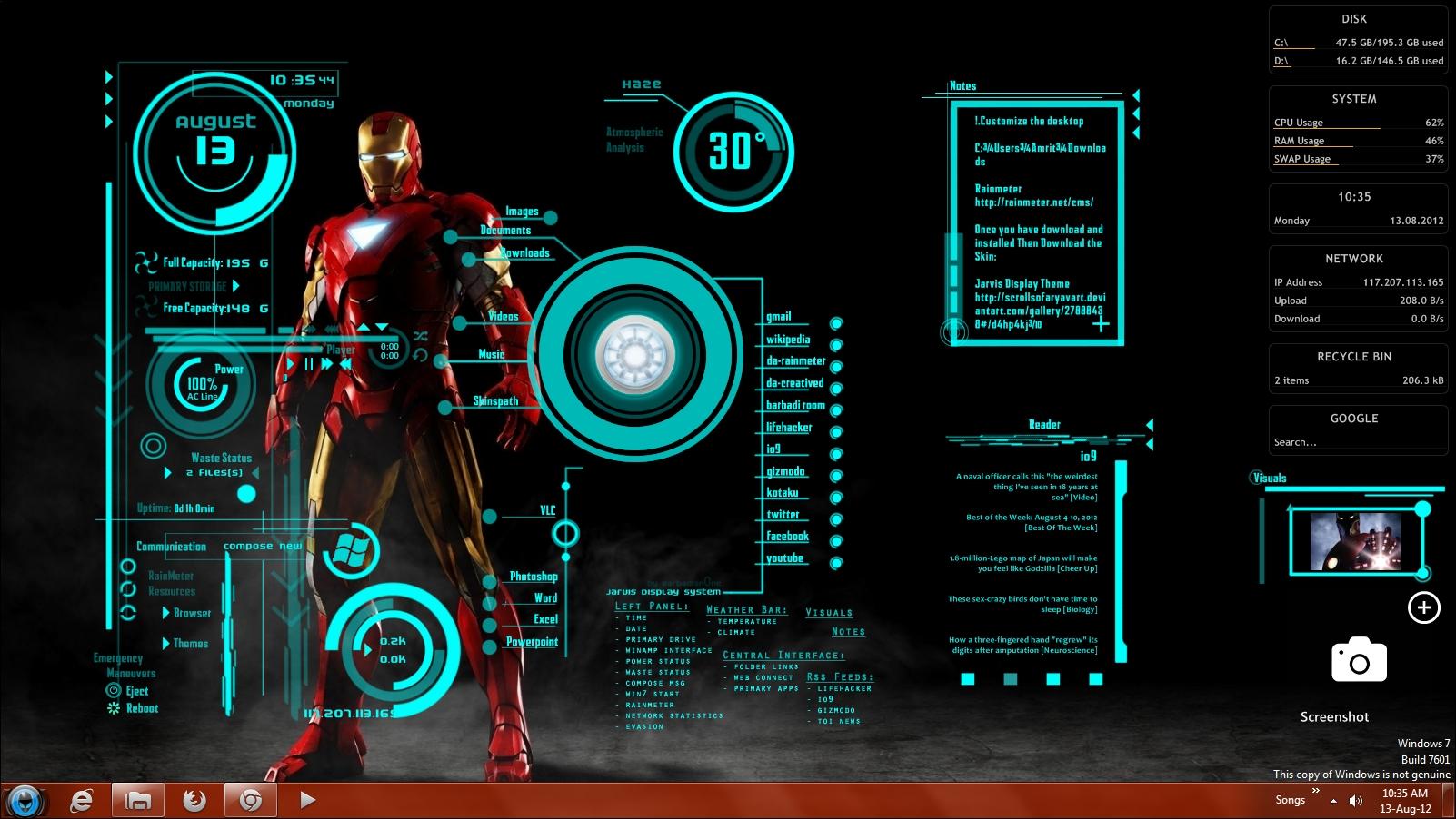 iron man theme wallpaper by satzwin7 1602x902