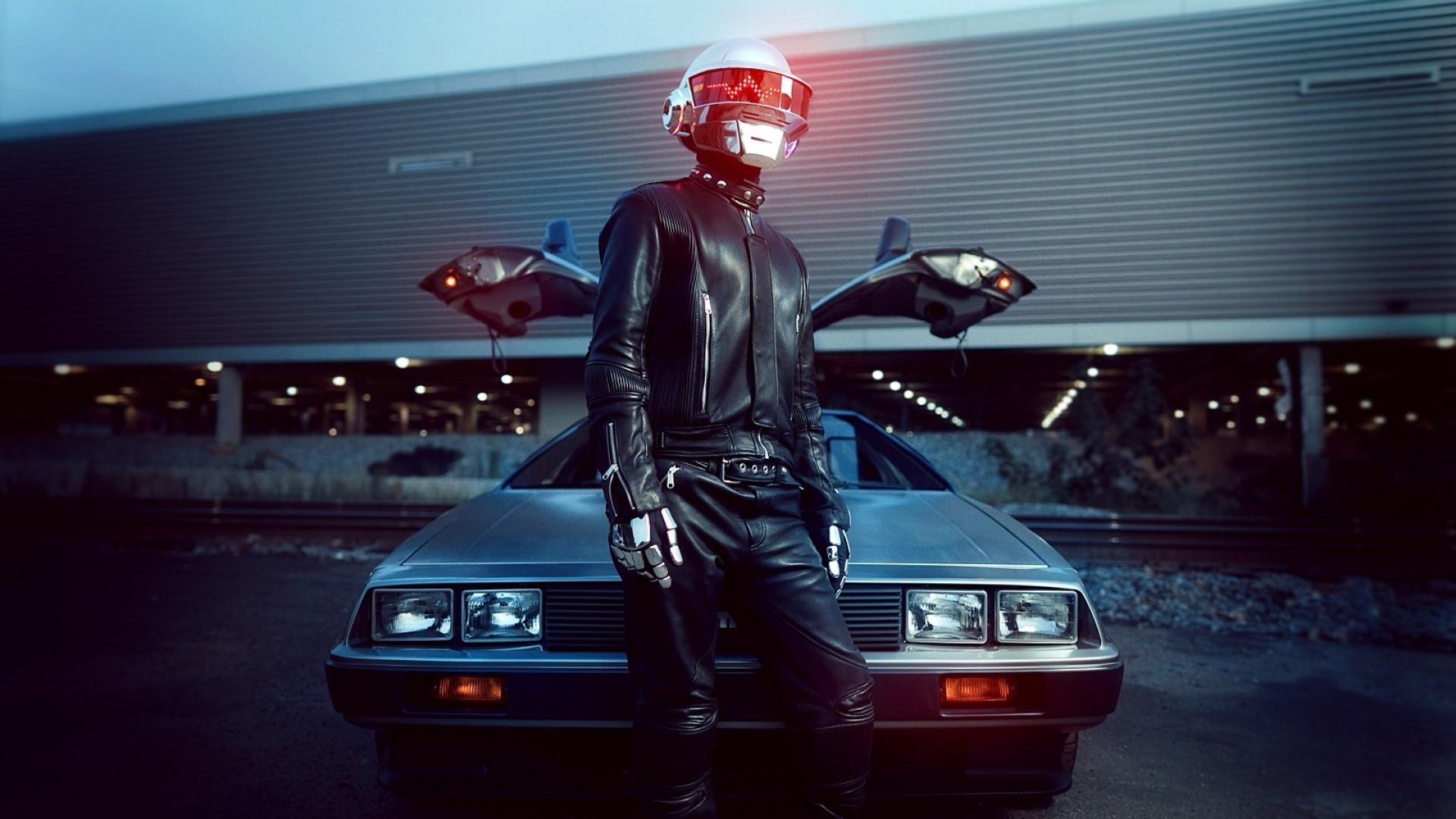 Daft Punk Helmet DeLorean Car Desktop Wallpaper 1920x1080