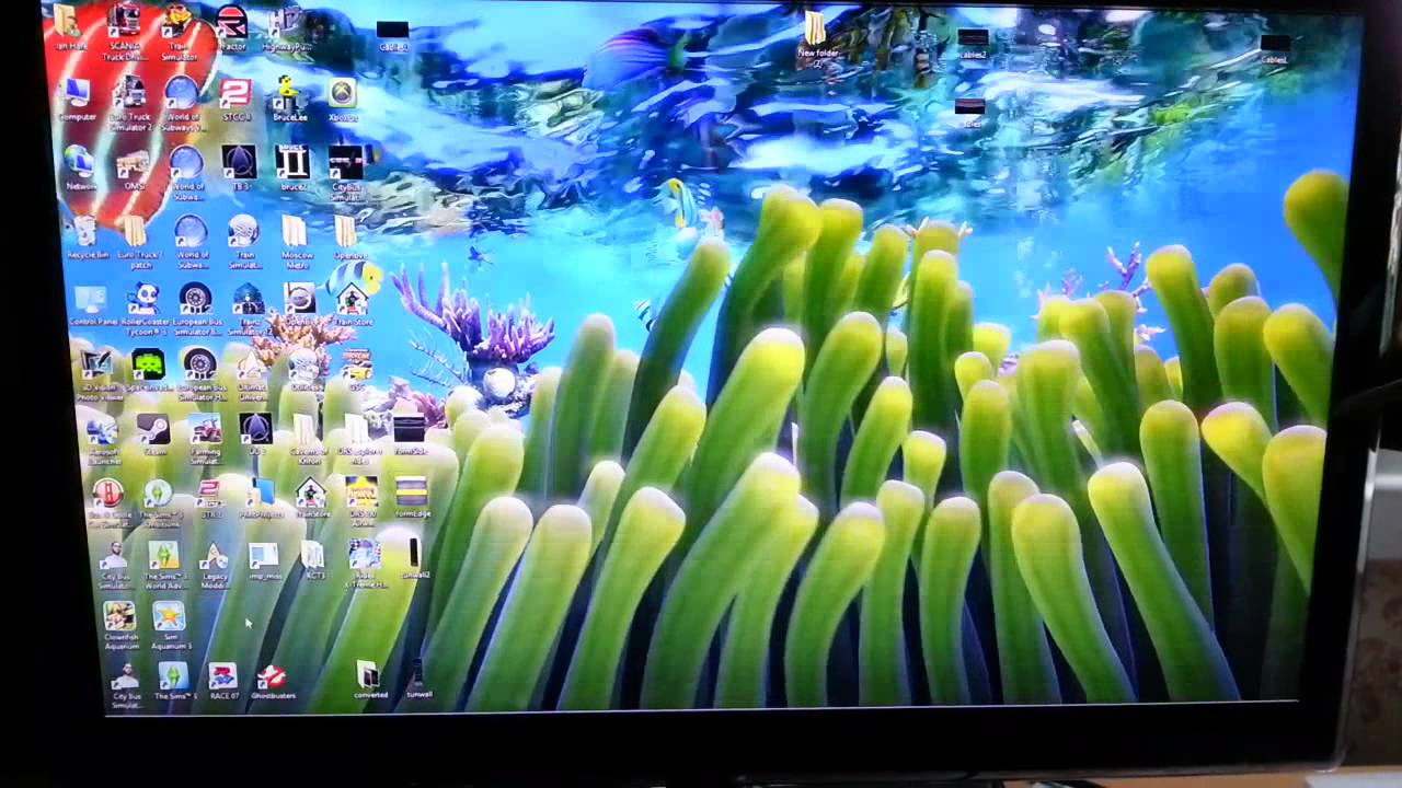 Sim Aquarium 3 live wallpaper mode in Windows 8 1280x720