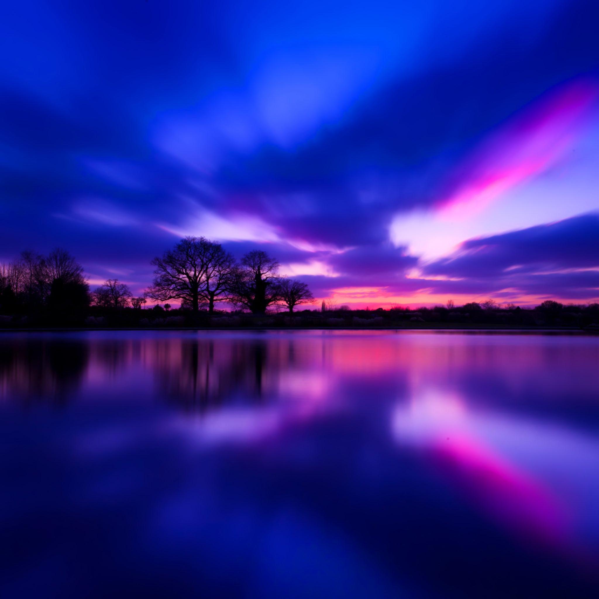 Темный закат над озером  № 3213473 загрузить