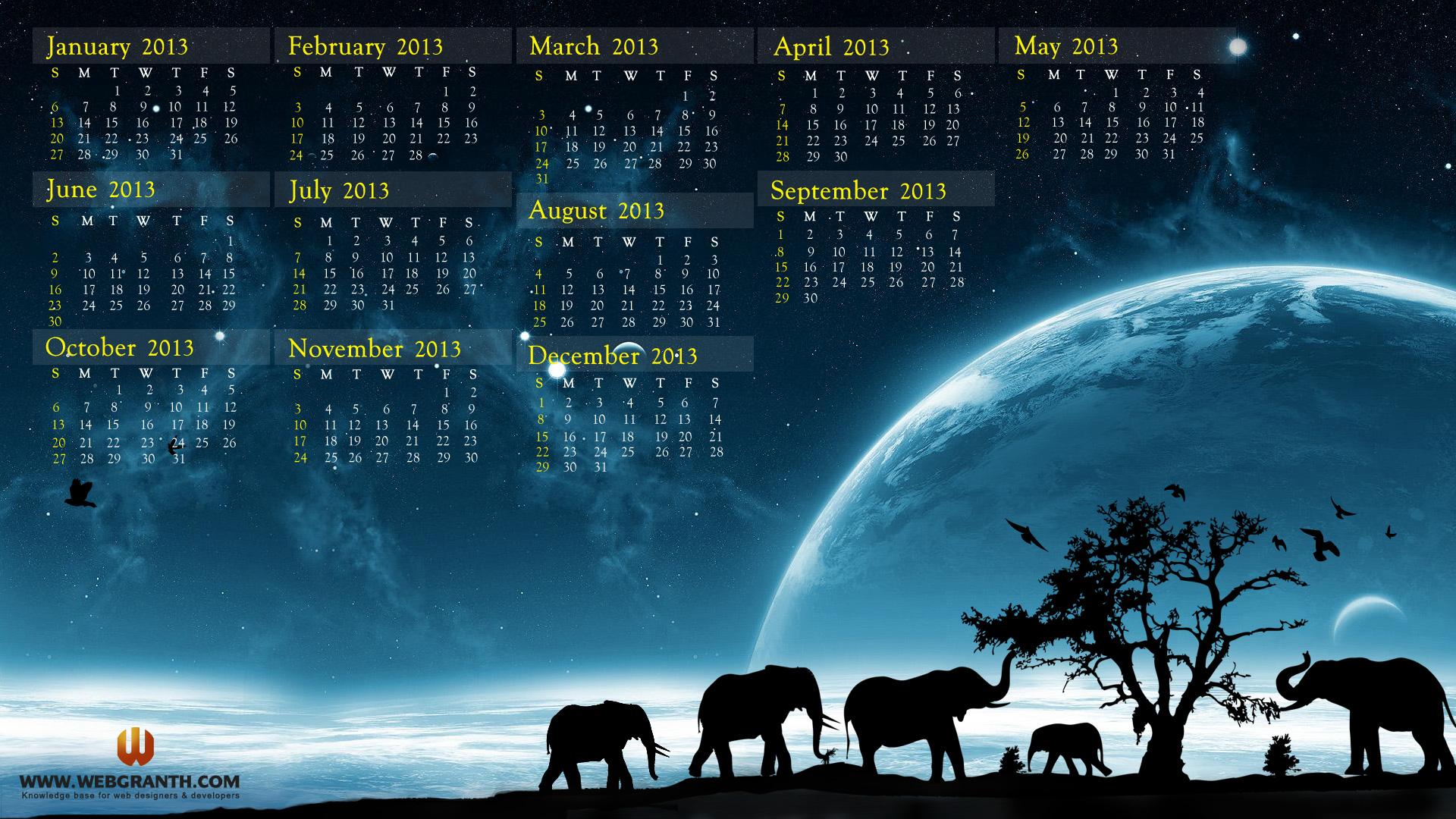 Year 2013 Calendar Best Desktop Wallpaper Calendar 2013 2016 1920x1080