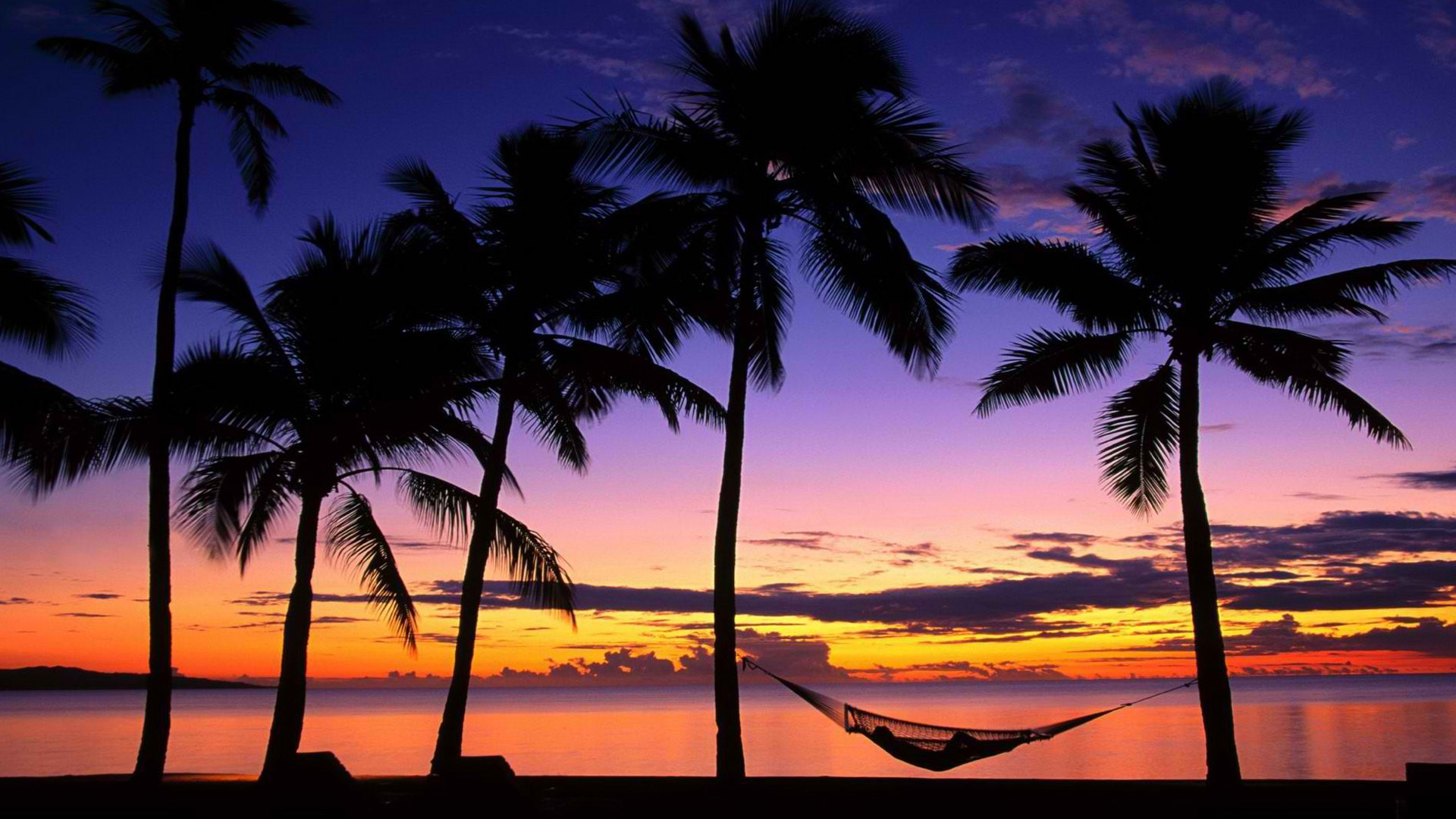 Tropical beach at sunset and palm hammocks Wallpapers Beach Pictures 1920x1080