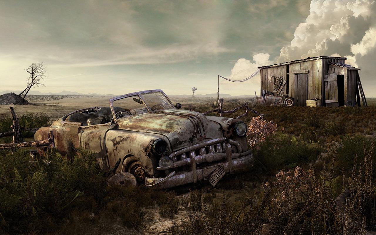 Abandoned Car Art Wallpaper 1280x800