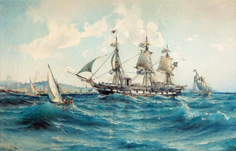 Wallpaper sea ship Storm harbour Herman Gustav Sillen Realism 1332x850