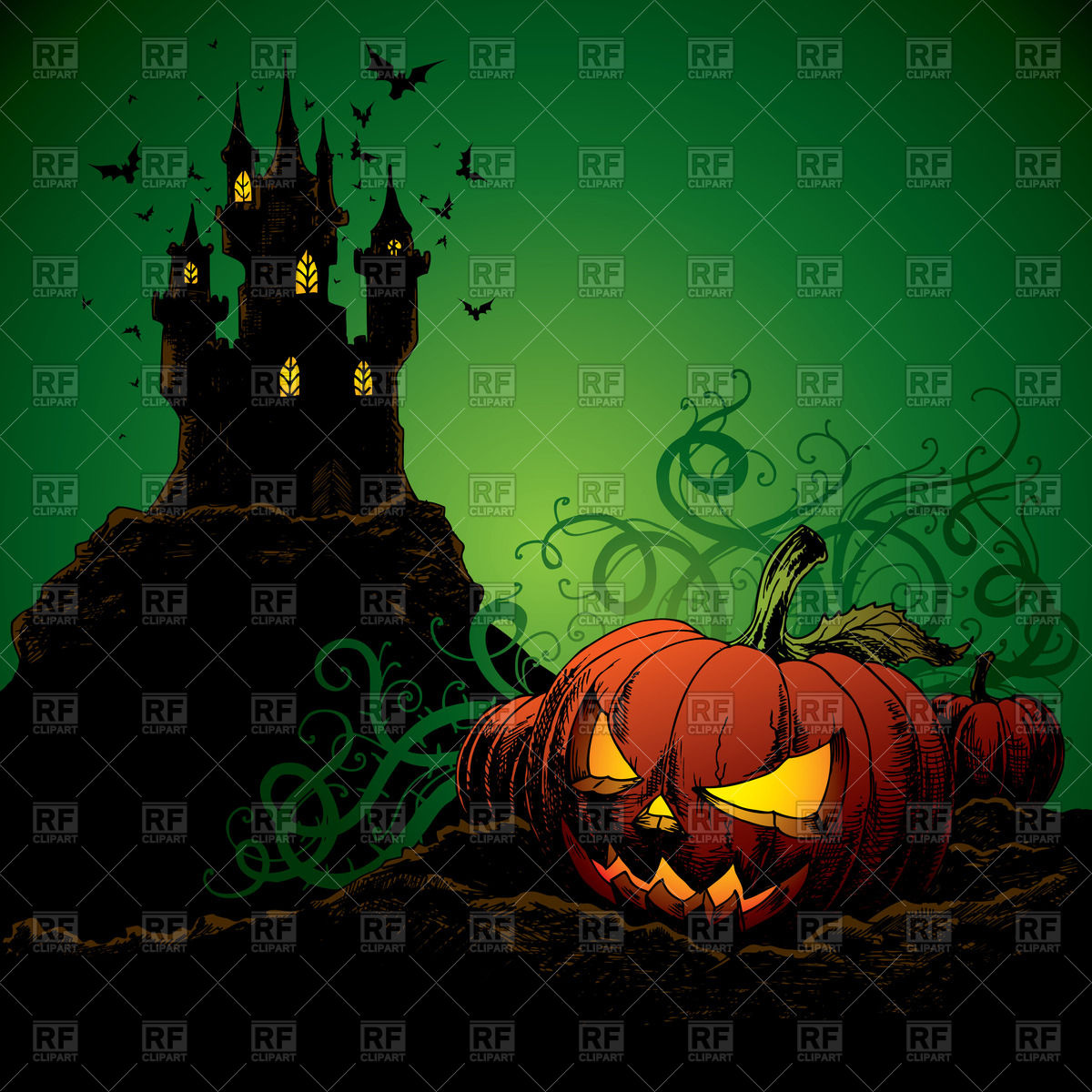 Halloween background with castle bats and pumpkin Vector Image of 1200x1200